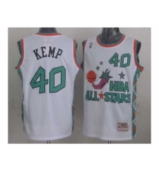 NBA 96 All Star #40 Kemp White Jerseys