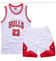 Youth NBA Chicago Bulls 23# Mickle Jordan White Suit Sets