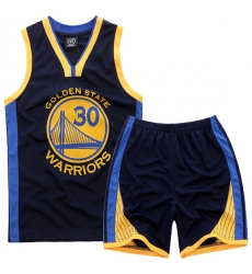 Youth NBA Golden State Warriors 30# Steve Curry Black Suit Sets