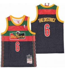 Men B&R Remix Jersey Hawks 6 The District Black Throwback Jersey