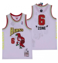 Men B&R Remix Jersey Hawks 6 Zone White Throwback Jersey