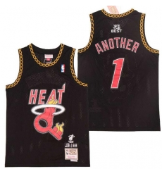 Men B&R Remix Jersey Heat 1 Another Black Throwback Jersey