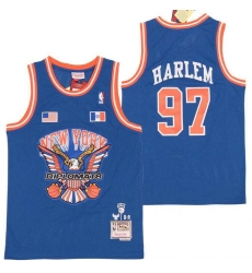 Men B&R Remix Jersey New York Kicks 97 Harlem Blue Throwback Jersey