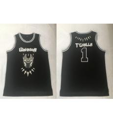 Men Black Panther 1 T'Challa Black Movie Basketball Jersey