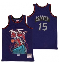 Men Raptors 15 Vince Carter Skull Edition Purple Throwback Jersey