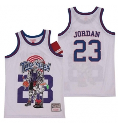 Men Tune Squad 23 Michael Jordan White Hardwood Classics Skull Edition Jersey