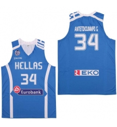 NBA Giannis Antetokounmpo 34 Hellas Eurobank Greece Jerseys Blue