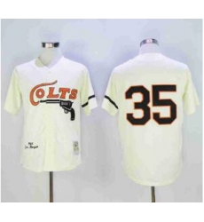 NFL Colts 35 Throwback White Cream Jersey