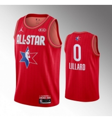 Blazers 0 Damian Lillard Red 2020 NBA All Star Jordan Brand Swingman Jersey