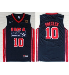 1992 Olympics Team USA 10 Clyde Drexler Navy Blue Swingman Jersey