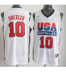 1992 Olympics Team USA 10 Clyde Drexler White Swingman Jersey