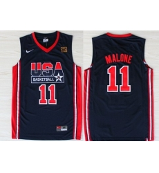 1992 Olympics Team USA 11 Karl Malone Navy Blue Swingman Jersey