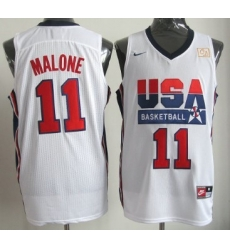 1992 Olympics Team USA 11 Karl Malone White Swingman Jersey