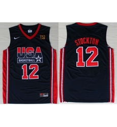 1992 Olympics Team USA 12 John Stockton Navy Blue Swingman Jersey