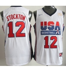 1992 Olympics Team USA 12 John Stockton White Swingman Jersey
