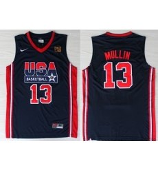 1992 Olympics Team USA 13 Chris Mullin Navy Blue Swingman Jersey