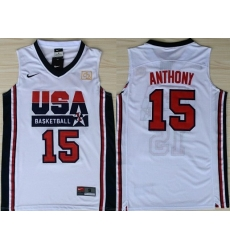 1992 Olympics Team USA 15 Carmelo Anthony White Swingman Jersey