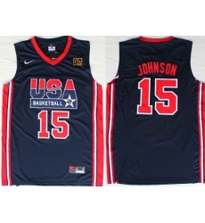 1992 Olympics Team USA 15 Magic Johnson Navy Blue Swingman Jersey