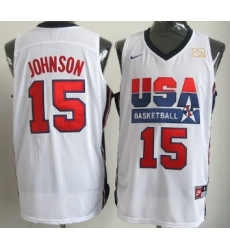 1992 Olympics Team USA 15 Magic Johnson White Swingman Jersey