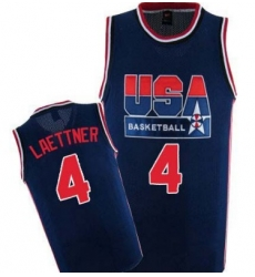 1992 Olympics Team USA 4 Christian Laettner Navy Blue Swingman Jersey