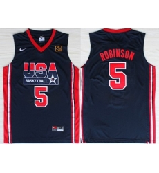 1992 Olympics Team USA 5 David Robinson Navy Blue Swingman Jersey