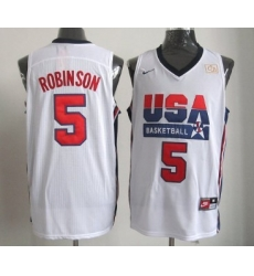1992 Olympics Team USA 5 David Robinson White Swingman Jersey