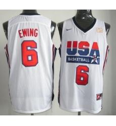 1992 Olympics Team USA 6 Patrick Ewing White Swingman Jersey
