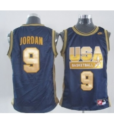 1992 Olympics Team USA 9 Michael Jordan Navy Blue With Gold Swingman Jersey