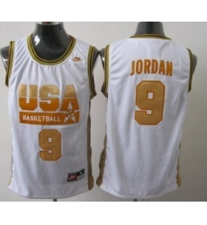 1992 Olympics Team USA 9 Michael Jordan White With Gold Swingman Jersey