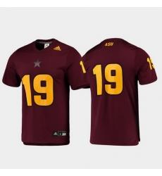 Men Arizona State Sun Devils 19 Maroon Replica Football Jersey