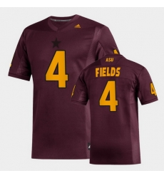 Men Arizona State Sun Devils Evan Fields Replica Maroon Football Jersey