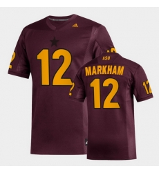 Men Arizona State Sun Devils Kejuan Markham Replica Maroon Football Jersey