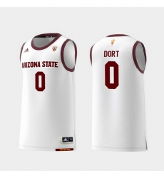 Men Arizona State Sun Devils Luguentz Dort White Replica College Basketball Jersey