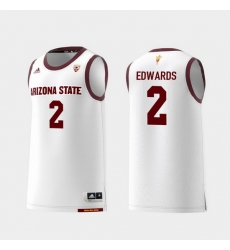 Men Arizona State Sun Devils Rob Edwards White Replica College Basketball Jersey