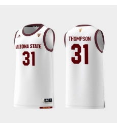 Men Arizona State Sun Devils Trevor Thompson White Replica College Basketball Jersey
