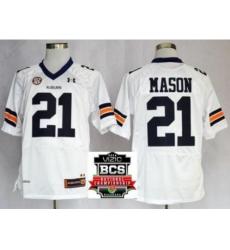 Auburn Tigers 21 Tre Mason White NCAA Football Jerseys 2014 Vizio BCS National Championship Game Patch