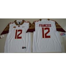 Florida State Seminoles 12 Deondre Francois White College Jersey