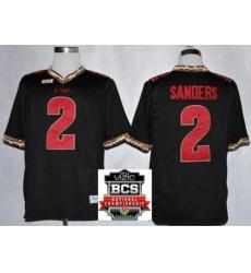 Florida State Seminoles (FSU) 2 Deion Sanders Black College Football NCAA Jerseys 2014 Vizio BCS National Championship Game Patch