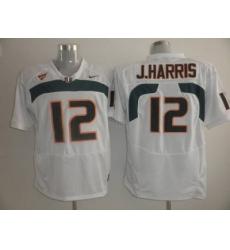 Hurricanes #12 Jacory Harris White Embroidered NCAA Jerseys