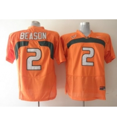 Hurricanes #2 Jon Beason Orange Embroidered NCAA Jerseys