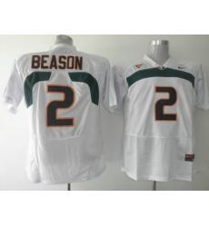 Hurricanes #2 Jon Beason White Embroidered NCAA Jerseys