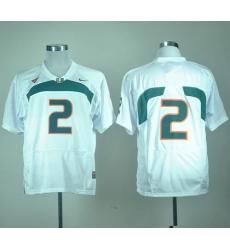 Hurricanes #2 White Stitched NCAA Jerseys