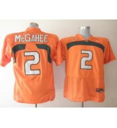 Hurricanes #2 Willis McGahee Orange Embroidered NCAA Jerseys