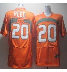 Hurricanes #20 Ed Reed Orange Embroidered NCAA Jerseys