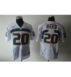 Hurricanes #20 Ed Reed White Embroidered NCAA Jerseys