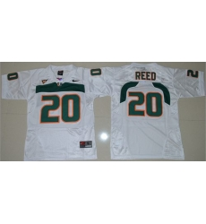 Hurricanes #20 Ed Reed White Stitched Youth NCAA Jersey