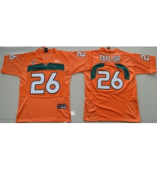 Hurricanes #26 Sean Taylor Orange Embroidered Youth NCAA Jerseys