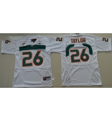 Hurricanes #26 Sean Taylor White Embroidered Youth NCAA Jerseys