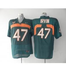 Hurricanes #47 Michael Irvin Green Embroidered NCAA Jerseys