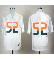 Hurricanes #52 R Lewis White Pro Combat Stitched NCAA Jerseys
